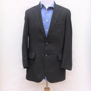 BARNEYS NEW YORK Suit 40L 34 x 32 Wool Dark Gray